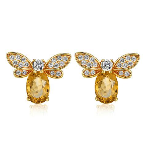 Yellow Citrin yellow citrine bee stud earrings gemheal