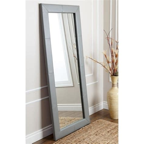 abbyson living windsor leather floor mirror in grey hs