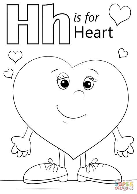 coloring pages for letter h letter h is for heart coloring page free printable