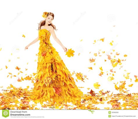 45215 White Autumn Leaves S M L Dress Le180118 Import fashion autumn fall leaves dress model gown stock photo image of