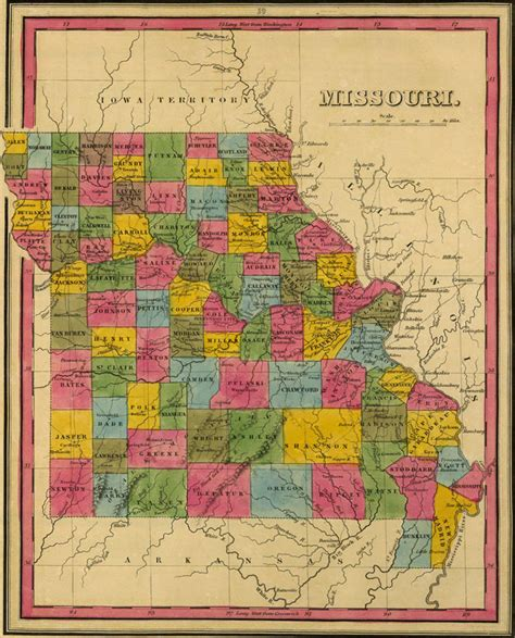 State Of Missouri Records Free Missouri State 1845 Historic Map By H S Reprint