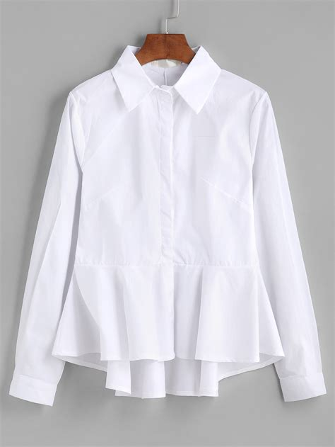 White Blous frill peplum dip hem blouse shein sheinside