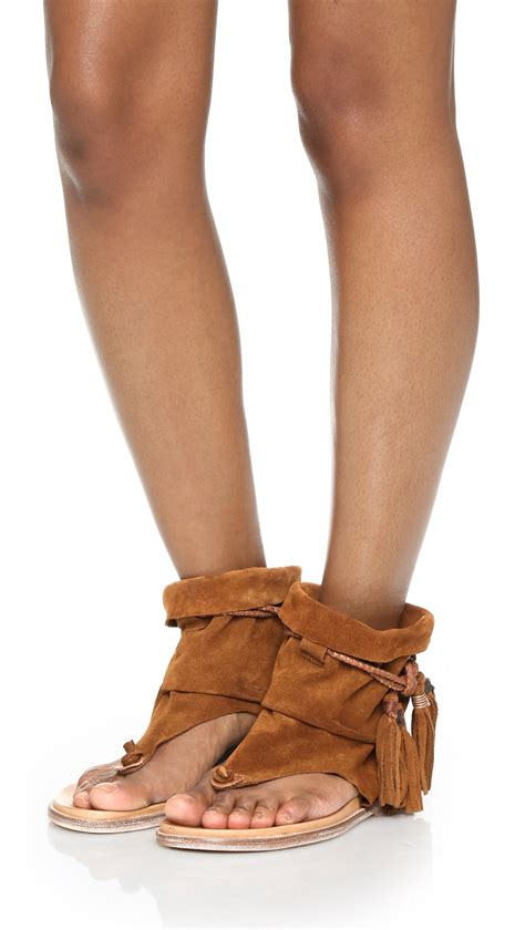 boot sandals lyst free marlo boot sandals in brown
