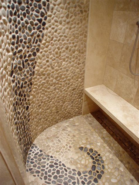 travertine river rock shower