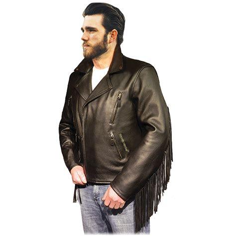 Mens Elite Fringed Classic Leather Motorcycle Jacket