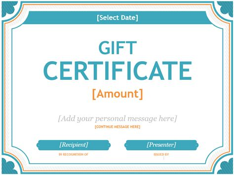 microsoft office gift certificate template ms word gift