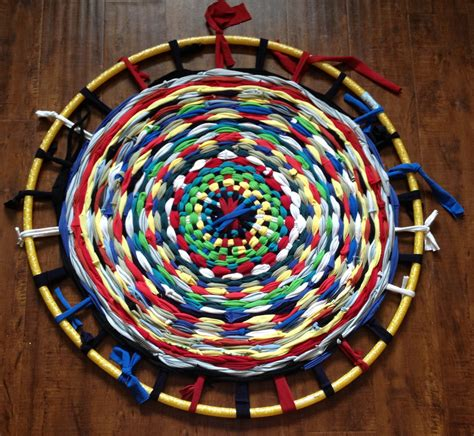 hoola hoop rug candice ashment reduce reuse recycle make a t shirt hula hoop rug