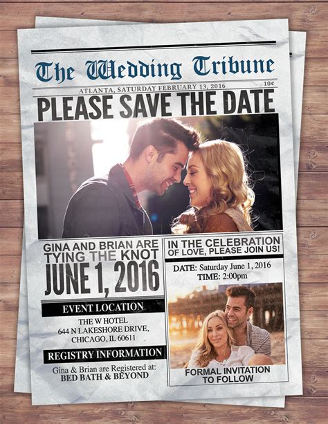 Wedding Newspaper Template by Newspaper Save The Date Wedding Invite Bridal Shower