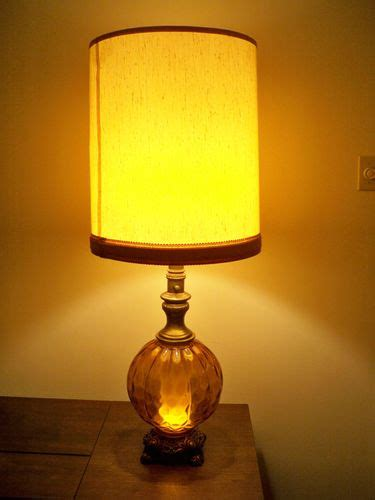 table ls with night light in base vintage mid century modern amber table lamp with night