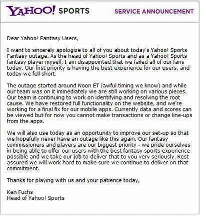 email yahoo fantasy yahoo fantasy sends apology email for crash sports