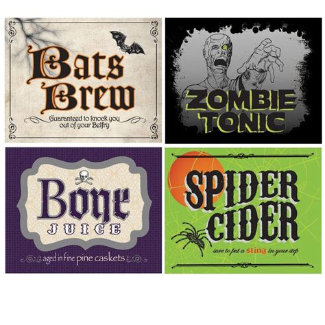halloween drink names shocktails drink bottle labels 4 halloween bottle