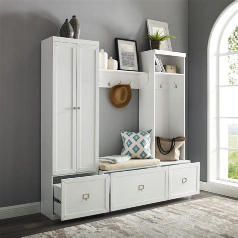 crosley furniture harper  piece entryway set white