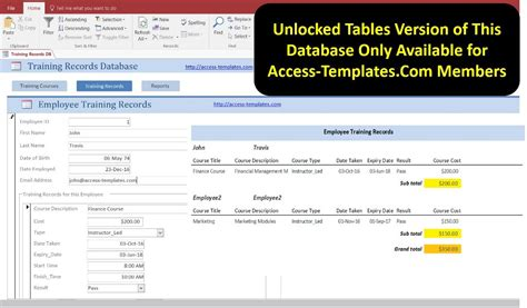 access database employee training plan and record