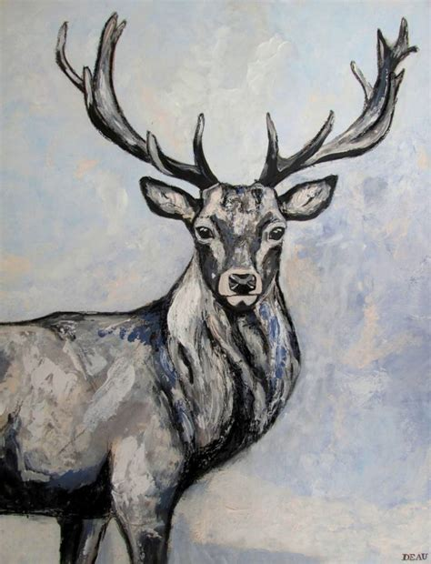 saatchi art edelhert red deer stag painting by