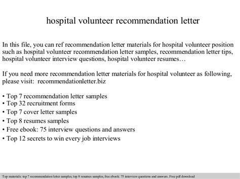 College Letter Of Recommendation For Volunteer Hospital Volunteer Recommendation Letter
