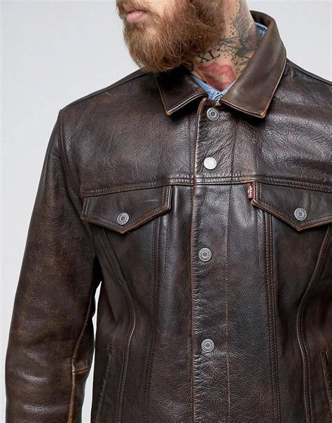Trucker Denim Jacket In Brown levi s leather trucket jacket buff rustic in brown for