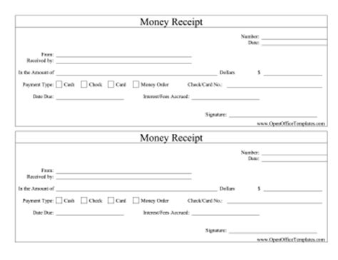 Open Office Receipt Template by Money Receipts Openoffice Template
