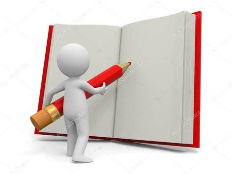 libro escribir writing manual una persona 3d escribiendo con un l 225 piz sobre un libro foto de stock 169 bluecups 24776141