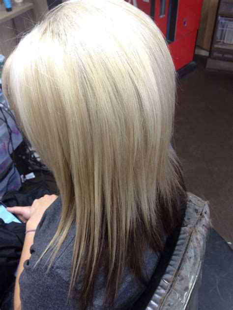 brown bottom bleached top with red multi tone blonde highlights dark brown bottom highlights