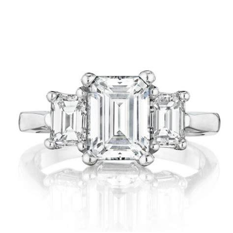 Emerald Moissanite emerald forever brilliant moissanite three ring 14k