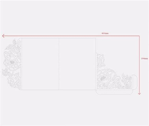 Tri Fold Peonies 5x7 Wedding Invitation Pocket Envelope Svg 12 Pinterest Pocket Envelopes 5x7 Tri Fold Template