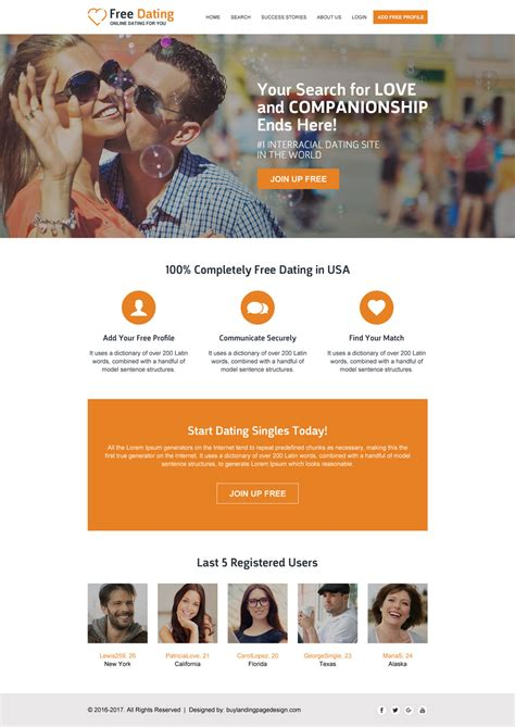 mobile friendly responsive dating website design templates