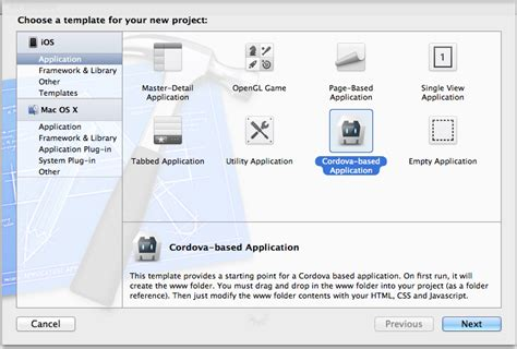 xcode templates getting started with ios apache cordova