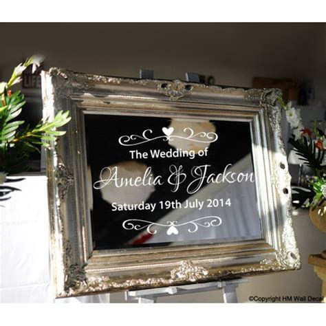 personalised wedding  mirror sticker temple webster