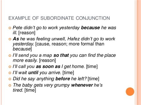 exle of conjunction conjunction slides