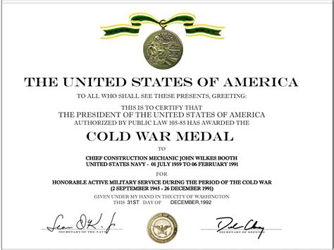 cold war medal application form cold war recognition certificate military certificates