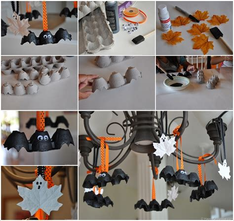 halloween diy decorations diy halloween egg carton bats and leaf ghosts beesdiy com