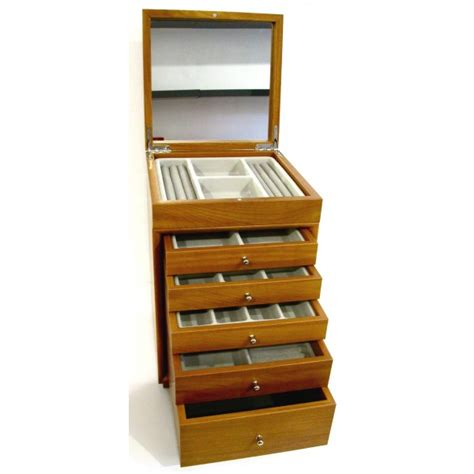 Large Jewelry Box With Drawers by Woody Large Wooden Jewelry Box