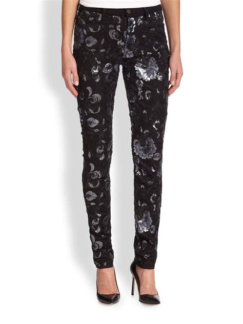 floral pattern skinny jeans 7 for all mankind sequined floral patterned skinny jeans