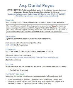 Modelo Curriculum Recien Egresado Curriculum Vitae Arquitecto Gt Ejemplos Y Formatos Mil Formatos