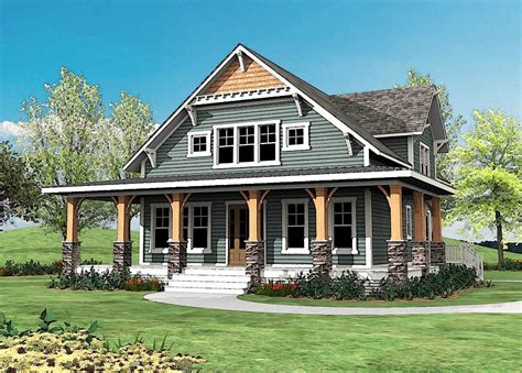 craftsman house plans with porch craftsman with wrap around porch 500015vv architectural