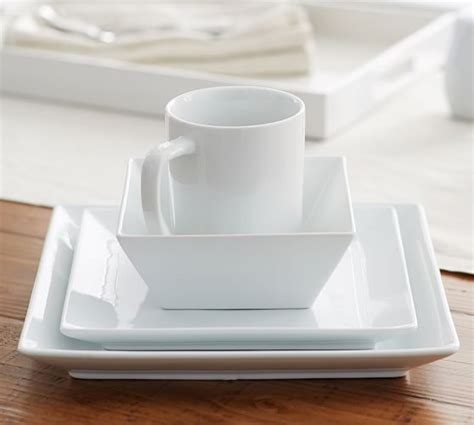 great white square dinnerware pottery barn
