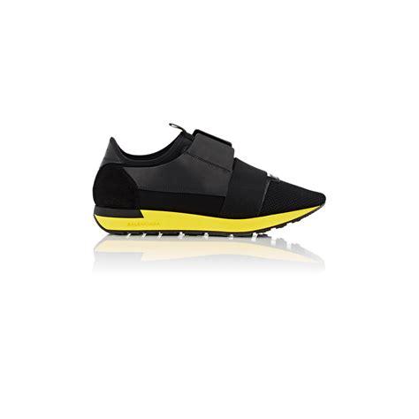 race runner balenciaga sneakers balenciaga race runner leather and mesh sneakers in black