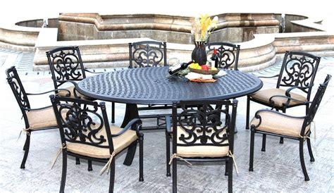 patio furniture dining set cast aluminum 59 x78 oval
