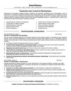 Free Sle Resume For Logistics Manager Transportation Resume 45 Images Resume Sle 22 Global