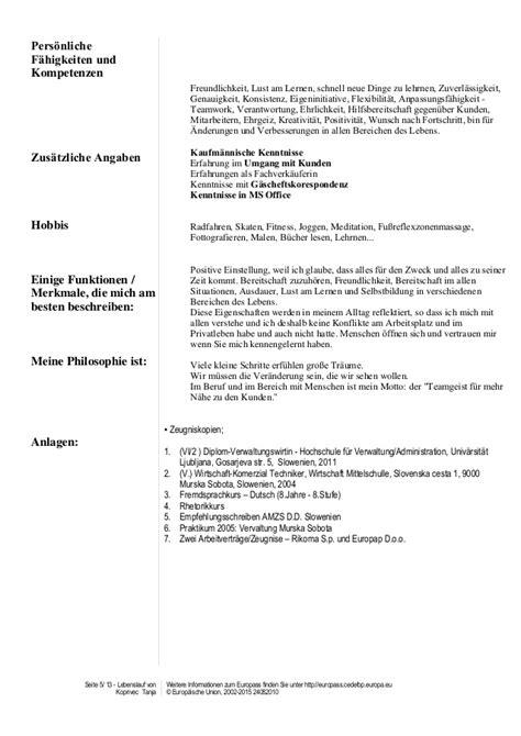 Tabellarischer Lebenslauf Europass Cv Europass Lebenslauf Tanja Koprivec25 7 2016pdf