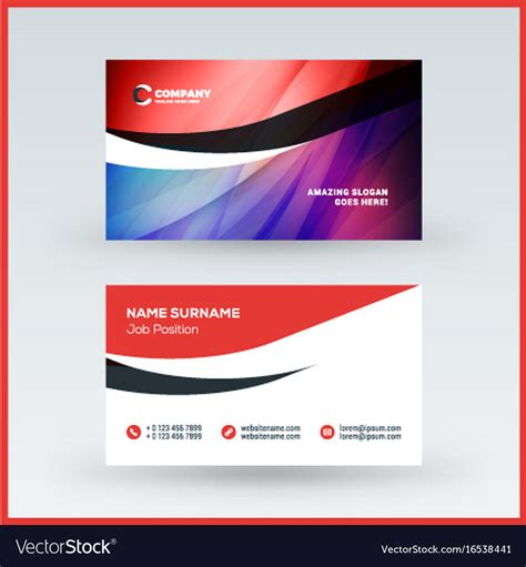 Two Sided Card Template Image by Sided Horizontal Business Card Template Vector Image