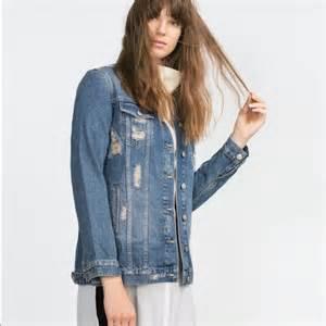 Premium Denim Jacket Ripped zara jackets coats sale nwt ripped distressed denim
