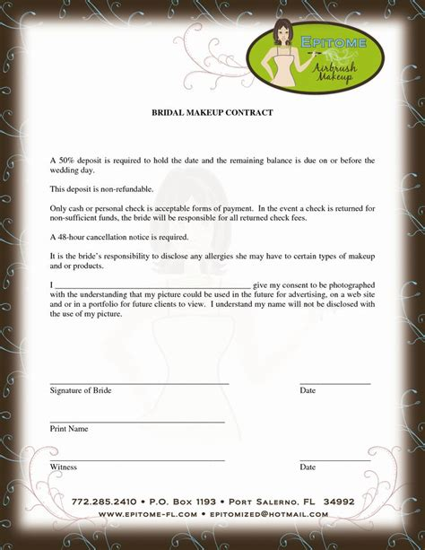 makeup artist contract template makeup artist
