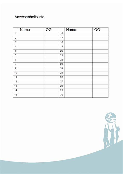 Vorlage Word Teilnehmerliste Tagesbericht Oder Tagesrapport Anwesenheitsliste Vordruck