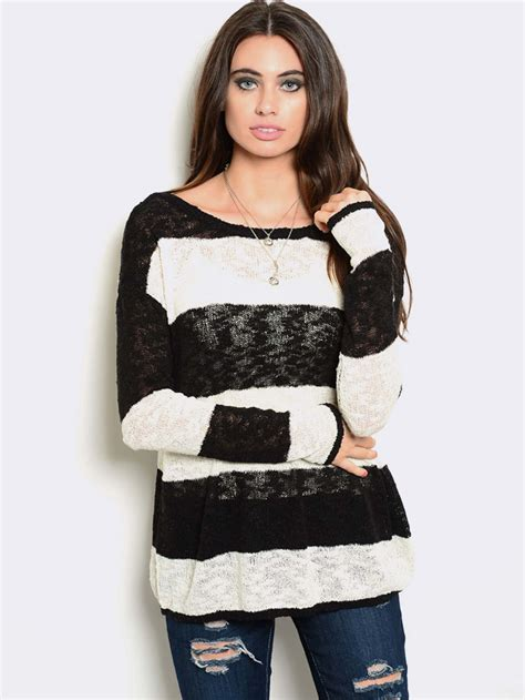 Whiteblack With Stripe Cardigan 22242 black white striped burnout sweater modishonline