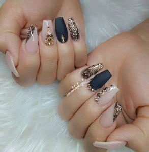 golden gems and black matte most popular coffin nail