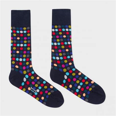 Polka Socks paul smith s navy multi coloured polka dot socks in