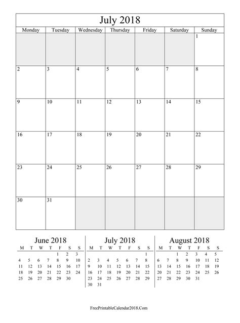 printable calendar portrait july 2018 calendar templates