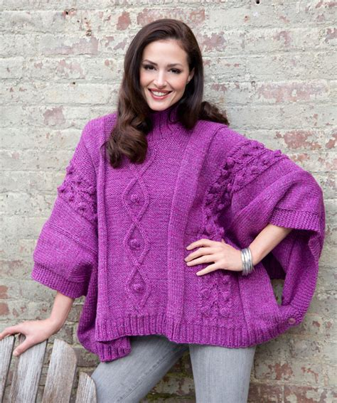 poncho pattern knitting yarn cable and bobble poncho free knitting pattern from red
