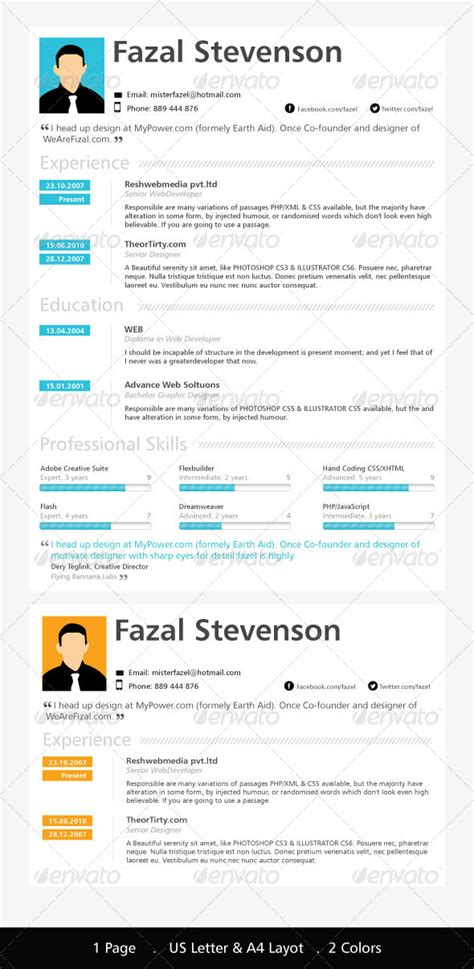One Page Resume Template   GraphicRiver
